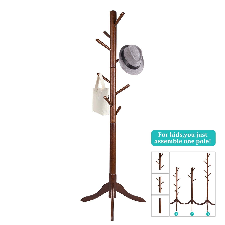 Vlush Free Standing Coat Rack 8 Hooks Wooden Coat Hat Tree Coat Hanger Holder Enterway Hall Tree With Solid Rubber Wood Base For Coat Hat Clothes Scarves H Standing Coat Rack