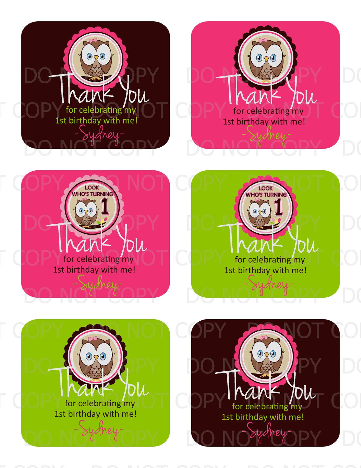 Printable Diy Personalized Owl First Birthday Favor Bag Thank You Tags