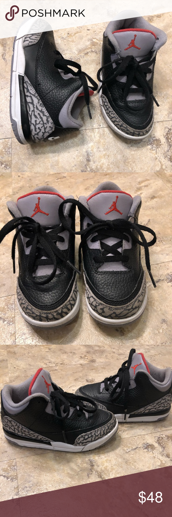 sports shoes c7d6d aced7 Jordan Retro III 3 Black Cement Toddler Size 9C Pre owned ...