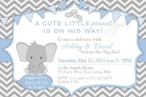 Elephant Baby Shower Invitation Boy Unique Prince Baby Shower