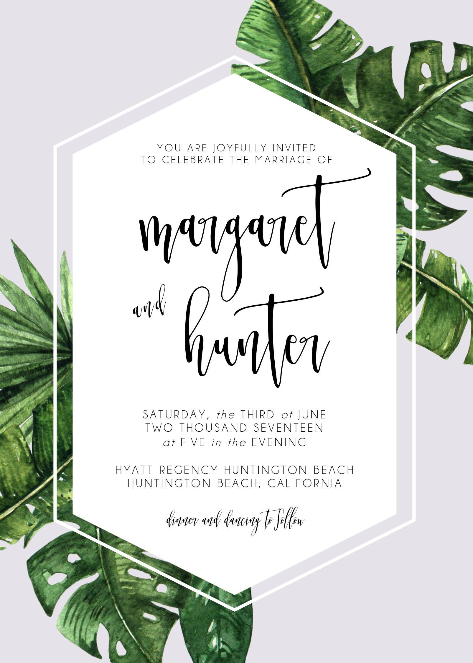 This listing is for a printable wedding invitation suite in a high