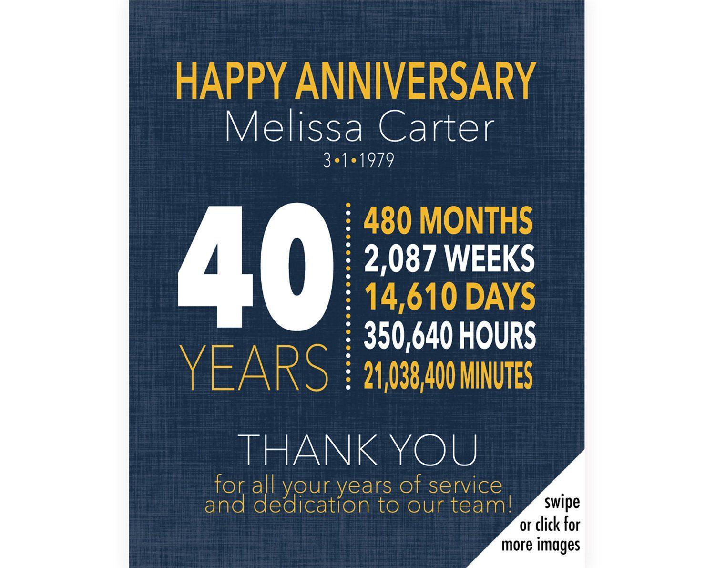 40 Year Work Anniversary Gift 40 Year Work Anniversary Certificate Employee Appreciation Work Anniversary Work Anniversary Gifts Employee Appreciation Gifts