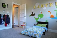 Add some color to the kids' bedroom with some dinosaur themed wall art - Decoist