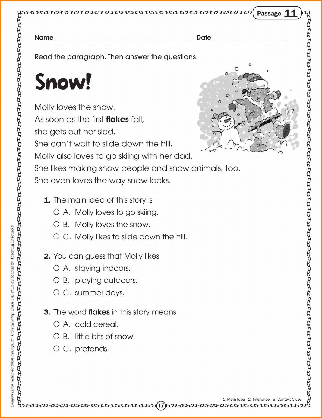 Reading Comprehension Worksheets 1st Grade Reading