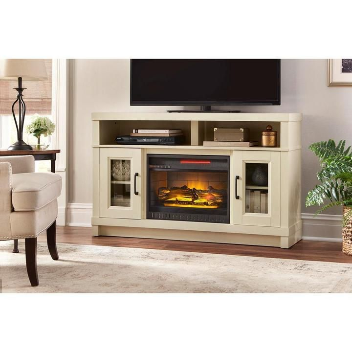 54 in freestanding electric fireplace tv stand in antique