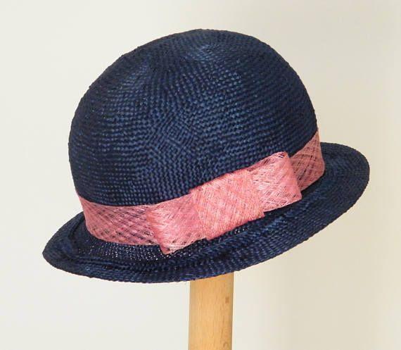 1ecf5d8432d blue summer hat   elegant straw hat   navy event hat   summer cloche ...