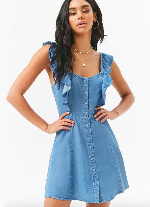272228e6a A ruffle-strap denim dress, because denim is a staple every summer ...
