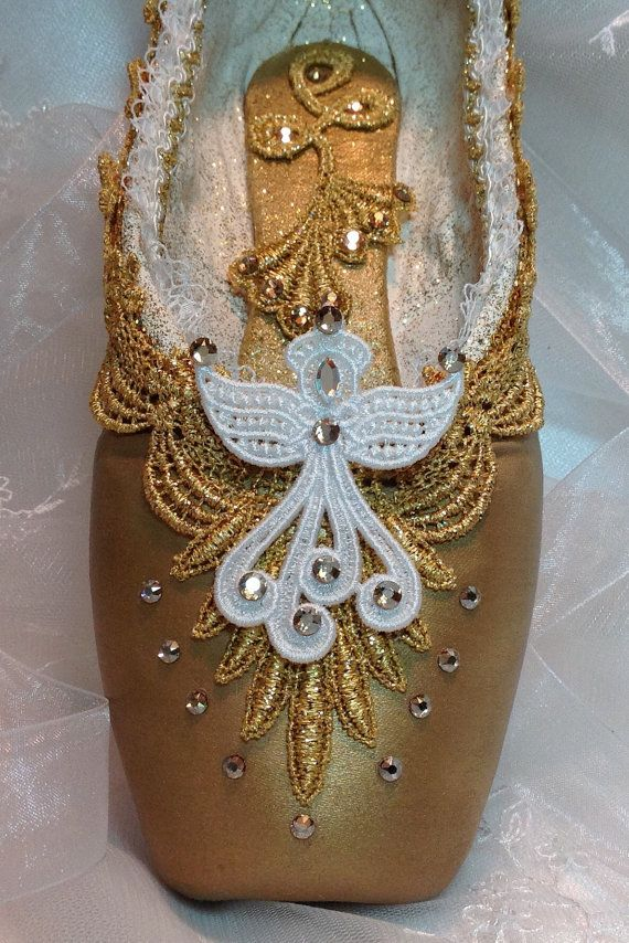 Nutcracker Angel decorated pointe shoe in gold and white. Christmas angel. Ready to ship.