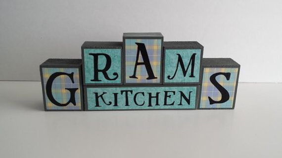 Wood Block Sign  Grams Kitchen  Teal and by ForeverYoursCreation