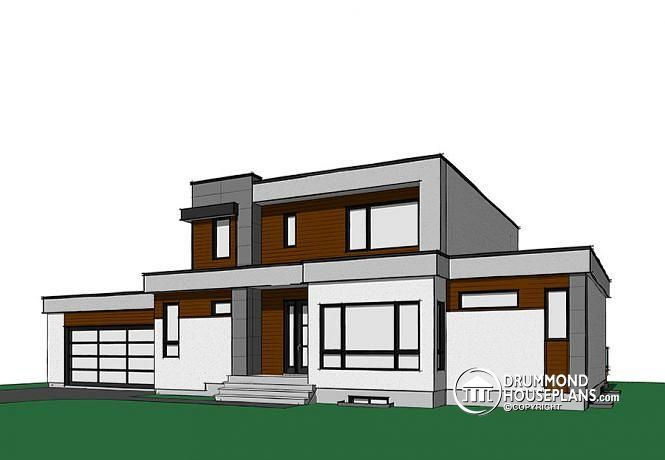 Drummond House Plans   W3883   Modern Cubic House Plan, Master Suite, 4  Bedrooms, Open Floor Plan, Home Office, 2 Car Garage, Pantry