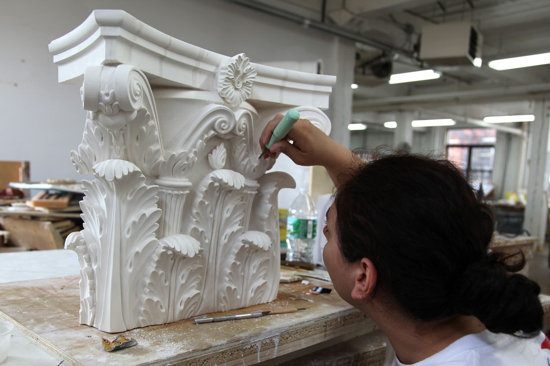 Exterior: Filling In Any Air Bubbles! Making This Pilaster Capital