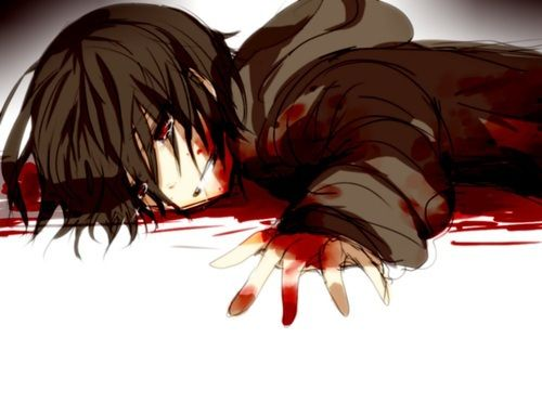 Anime Characters Crying : Anime. anime guy. dark brown hair. crying. blood. guro. gore. hoodie