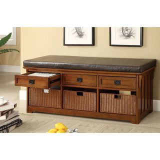 Furniture Of America Hodor 60 Inch 3 Drawer Storage Bench