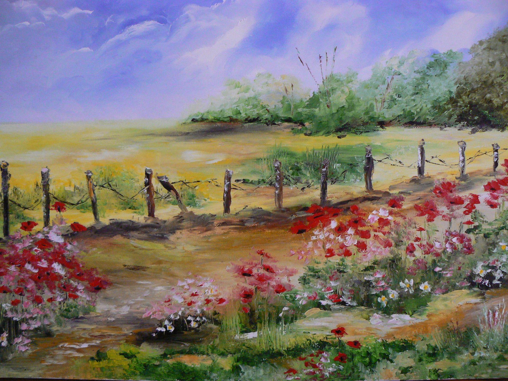 Champ de colza et coquelicots paysage de notre belle for Paysage peinture