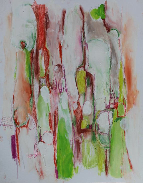Abstract Expressionist Painting on Paper by kerriblackmanfineart, $45.00