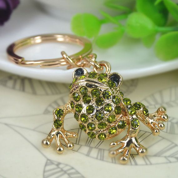 Lovely Green Frog Key Chain Car Key Ring Charm by shina