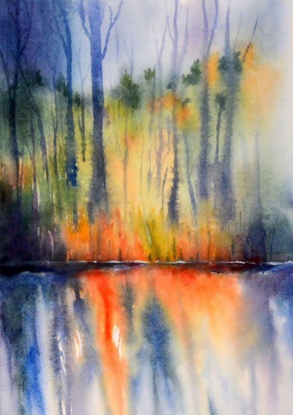 Sunset Print Water Reflection Watercolor Painting Landscape Art