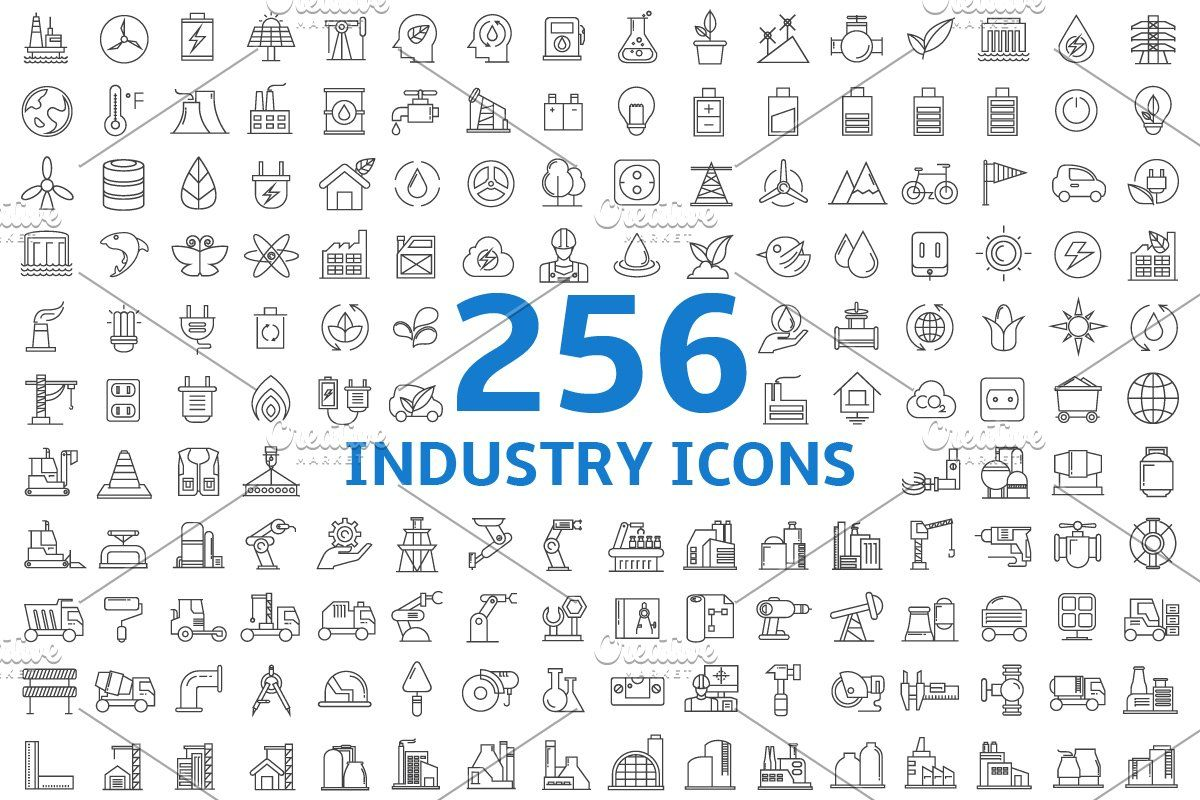 256 industry line icons set in 2020 line icon icon
