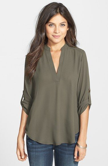 ca3c5fe714dfd Lush Roll Tab Sleeve Woven Shirt (Juniors) available at  Nordstrom ...