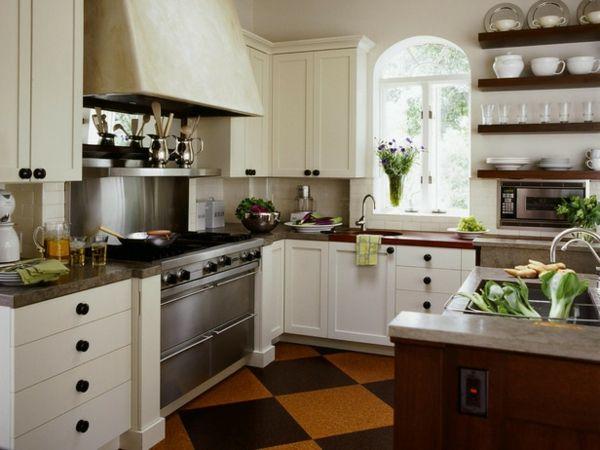 kücheneinrichtung englischer stil bodenfliesen kücheninsel | Küche ...