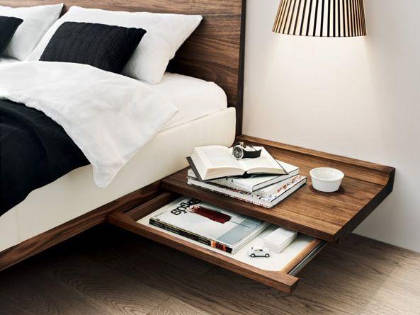 Table de chevet suspendue en bois un chevet suspendu pour d poser vos livre - Fabriquer table chevet ...