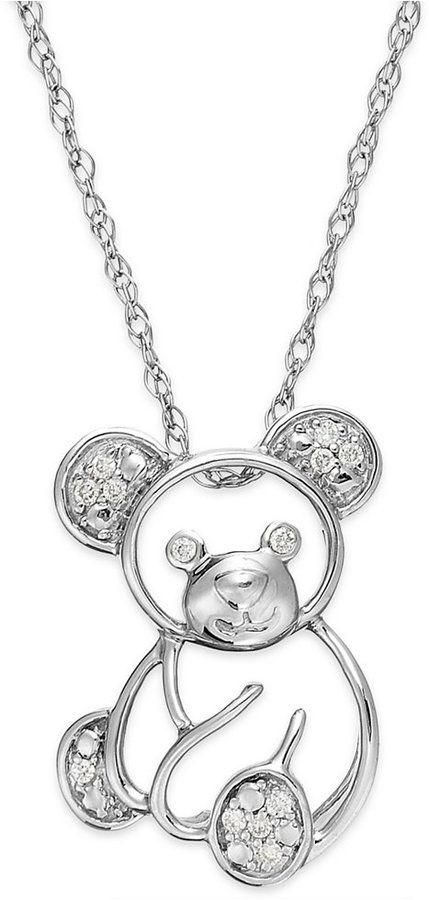 31a08a7ae3af5d Diamond Teddy Bear Pendant Necklace in 10k White Gold (1/10 ct. t.w.) on  shopstyle.com