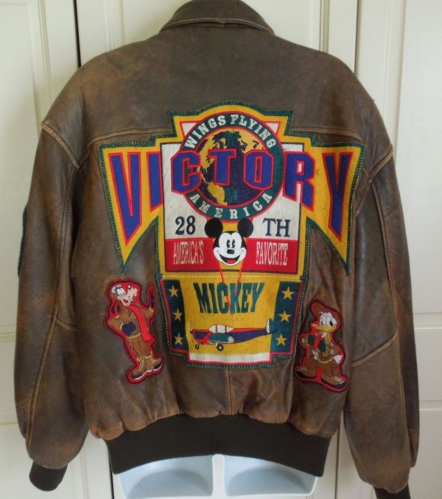 Disney Mickey Mouse Leather Bomber Jacket Flying Squadron Womens S M Vintage Leather Bomber Jacket Leather Bomber Disney Couture [ 1000 x 885 Pixel ]