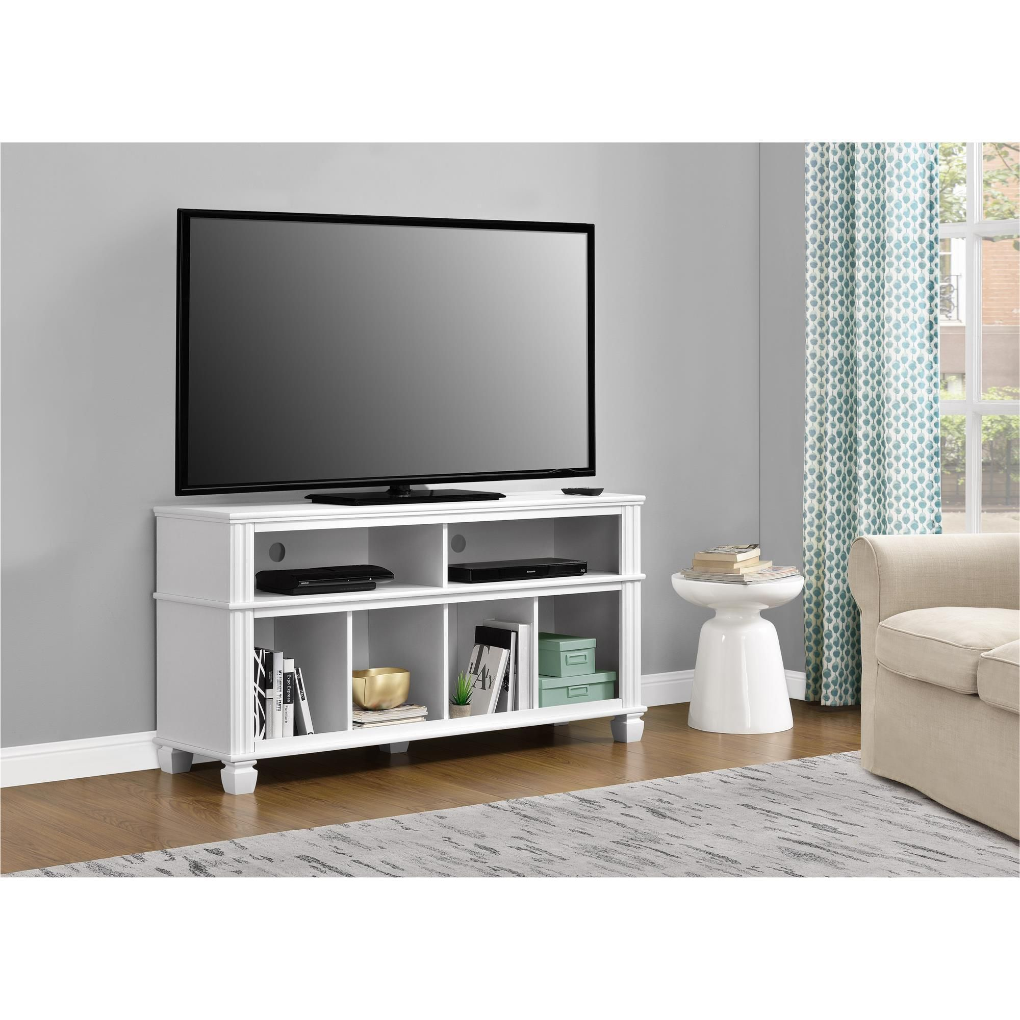 Home Woodcrest White 55 Inch Tv Stand Tv Stand White  # Meuble A Ecran Plat Dans Une Chambre