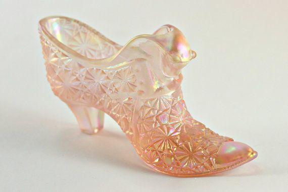 Fenton Shoe Fenton Glass Shoe Pink Iridescent Shoe Fenton Daisy Button Cat Slipper Fenton Pink Iridescent Cat
