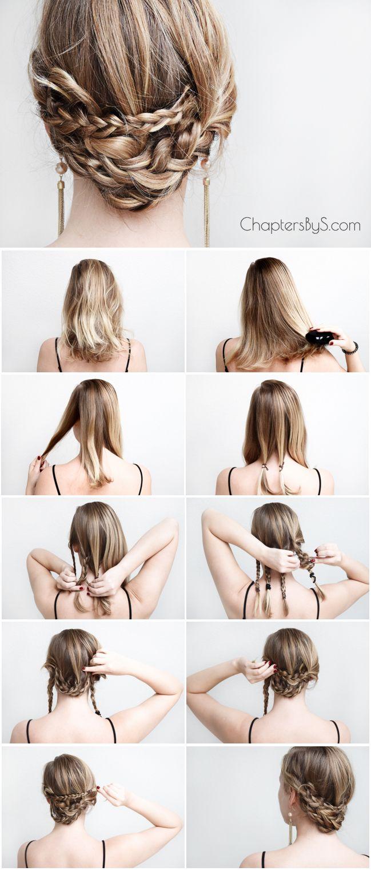 A Casual Braided Updo Medium Length Hair Styles Braids For Medium Length Hair Hair Styles