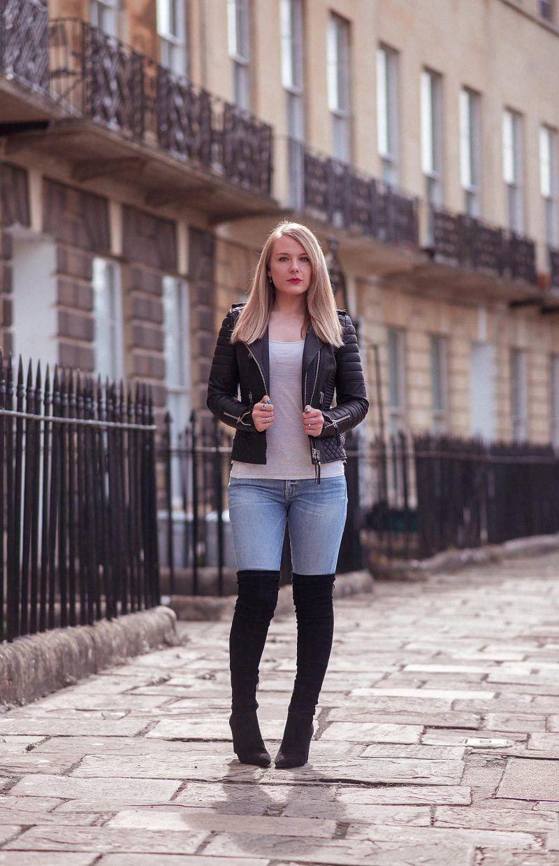 blazer dress with knee high boots