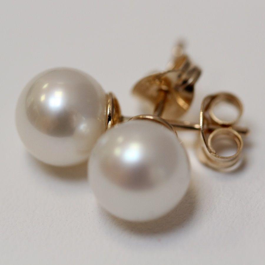 Pearl Stud Earrings 7 5 Cream