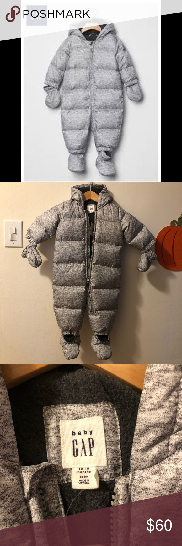 c29655066 Baby Gap Warmest Down Heather Gray Snowsuit NWT in 2018