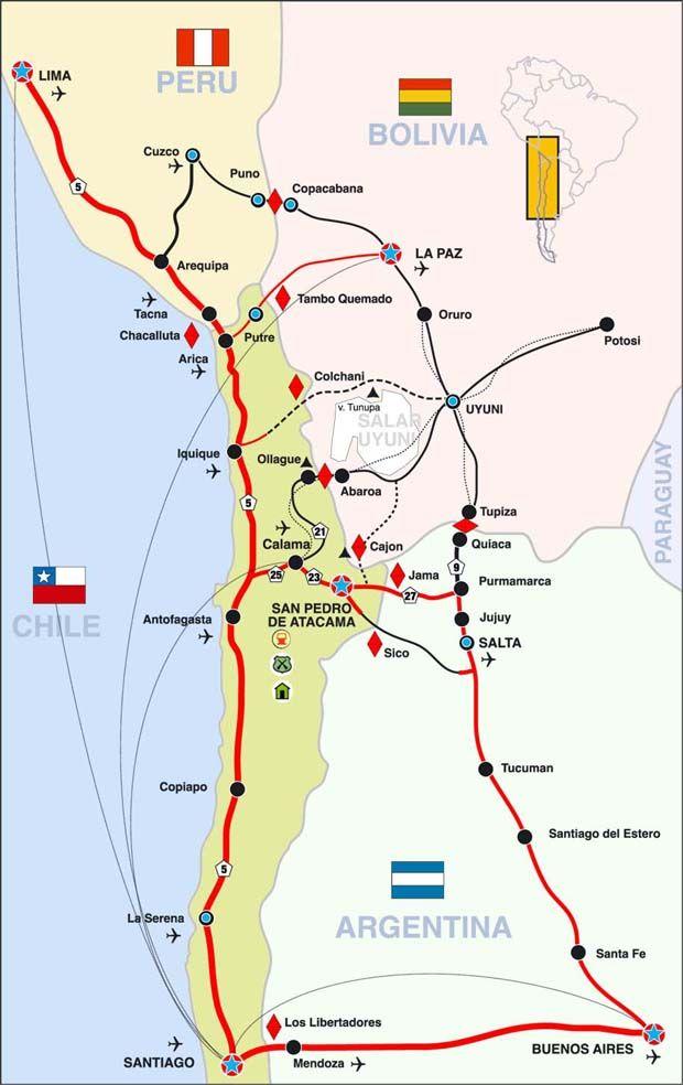 Desierto De Atacama Mapa America.San Pedro De Atacama Chile Mapas De Viaje Mapa De