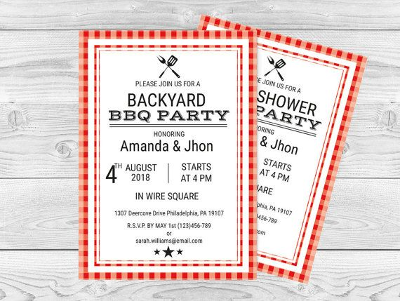 BBQ Party Invitation Template with Envelope Liner, Gingham - bbq invitation template