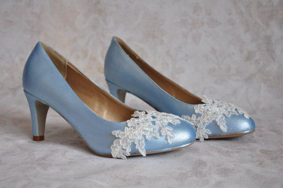 8e5955f35cd3 Wedding shoes blue wedding shoes light blue pumps blue bridal shoes with  ivory lace applique blue lo