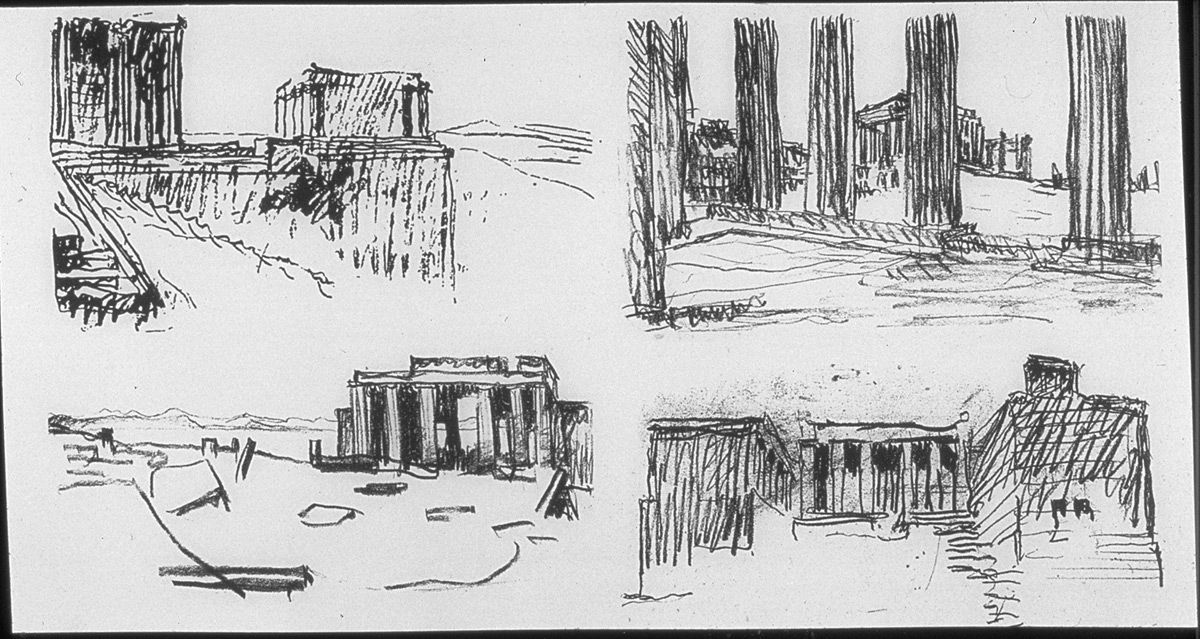 Le Corbusier, sketch of the Acropolis, Athens, done during