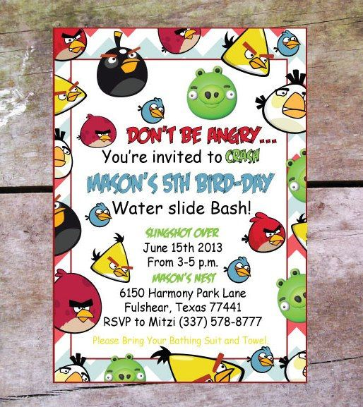 30 Angry Birds Birthday Invitations Angry birds Bird and Birthdays