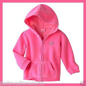 NWT Baby Girl's Jumping Beans Lt Pink Fleece Zip-Up Hoodie w/Heart - SZ 6mo - Sold April 9, 2013