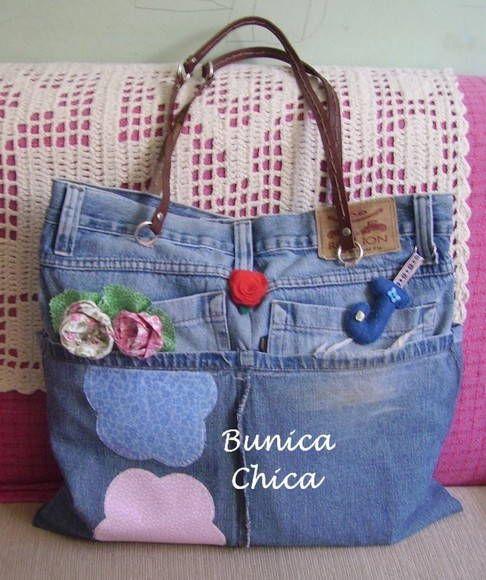 75c5e6d2f Bolsa Jeans flores | çanta | Denim handbags, Denim bag e Recycle Jeans