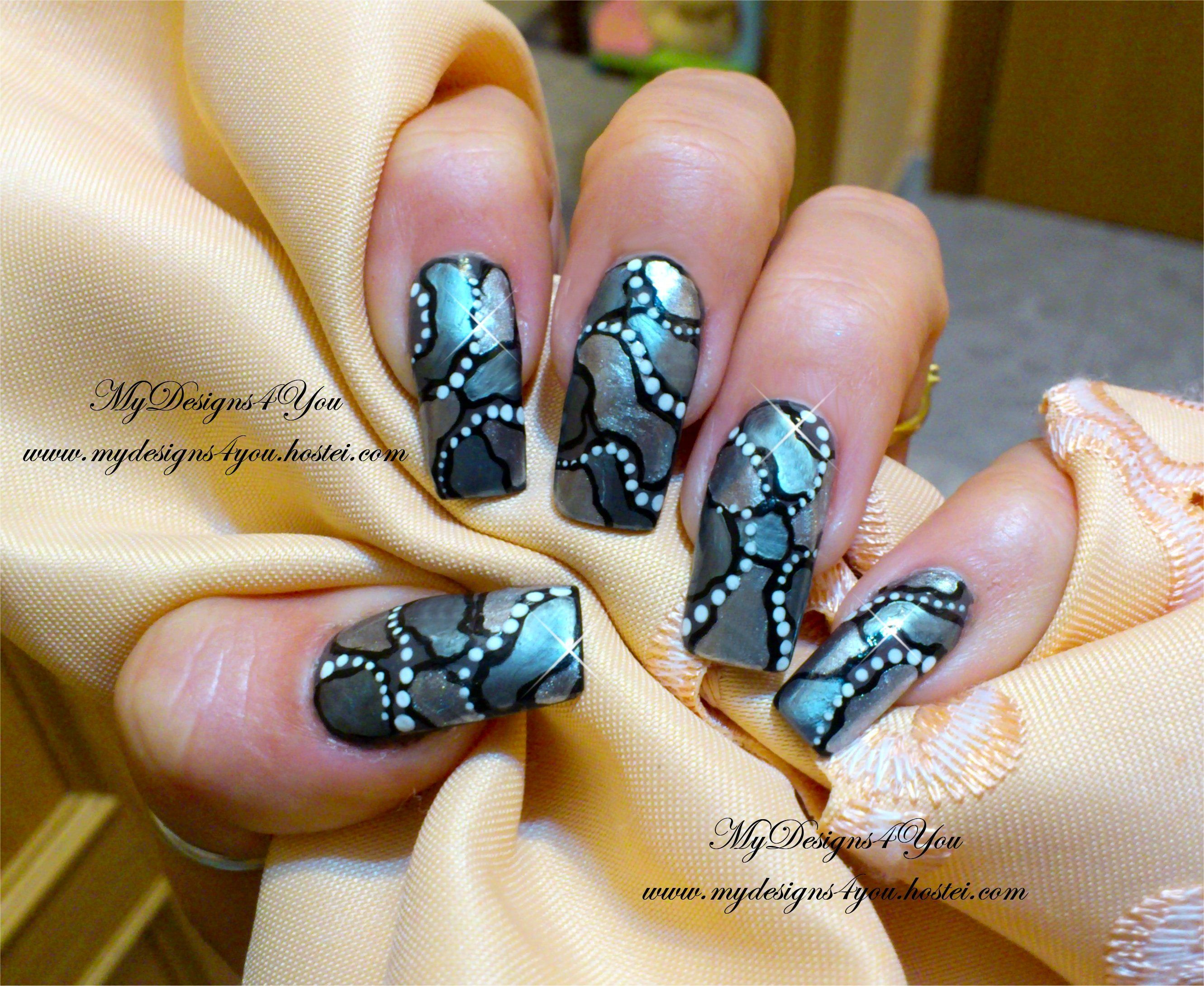 Mirror mosaic effect nail design long nails pinterest mirror