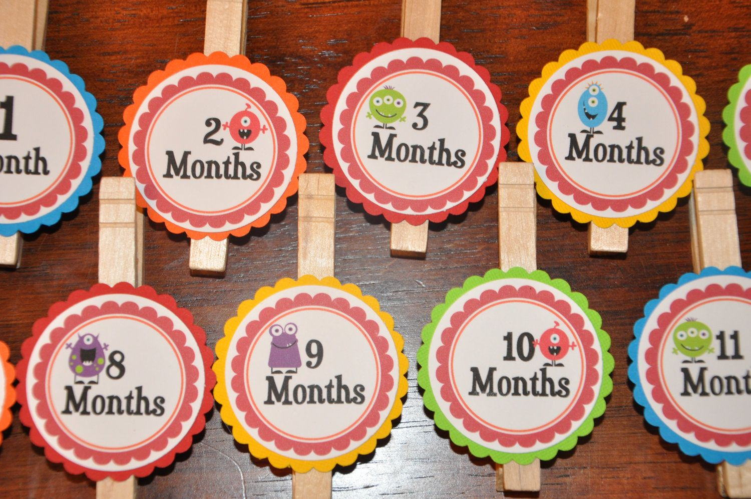 Photo Clips. Monster.  Photo Banner. DIY Photo Banner. First Birthday. Rainbow Colors. Bright. Set of 13. $12.00, via Etsy.