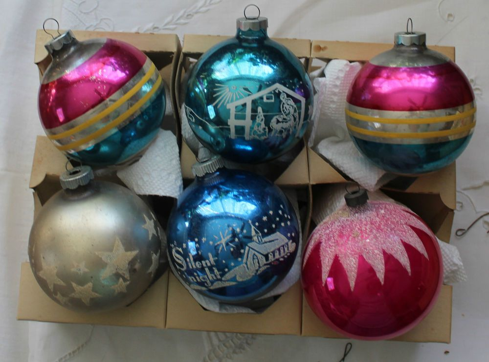 extra large xmas ornament shiny brite mica snow cap stripes stars - Extra Large Christmas Ornaments
