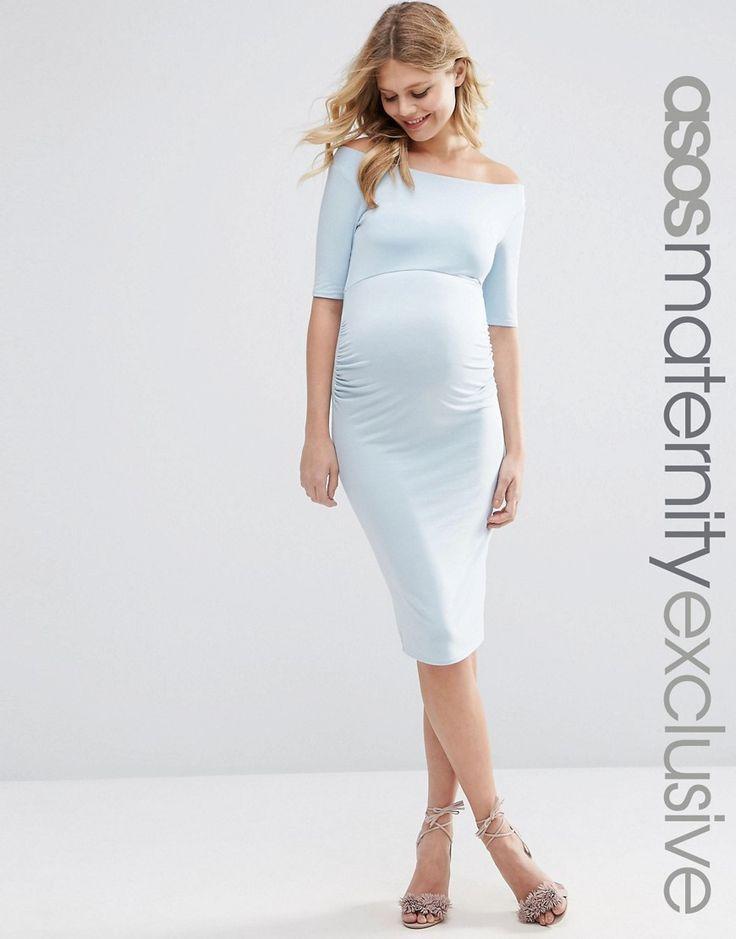 Imagen 1 de Vestido con escote bardot y media manga de ASOS Maternity.