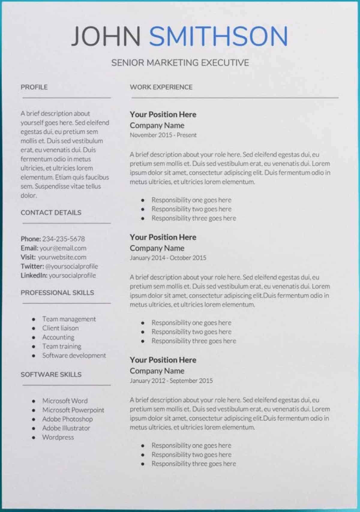 Simple Resume Template Google Docs Cool and Elegant 30