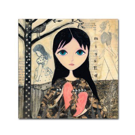 Trademark Fine Art 'Big Eyed Girl Broken Heart' Canvas Art by Wyanne, Size: 18 x 18, Multicolor
