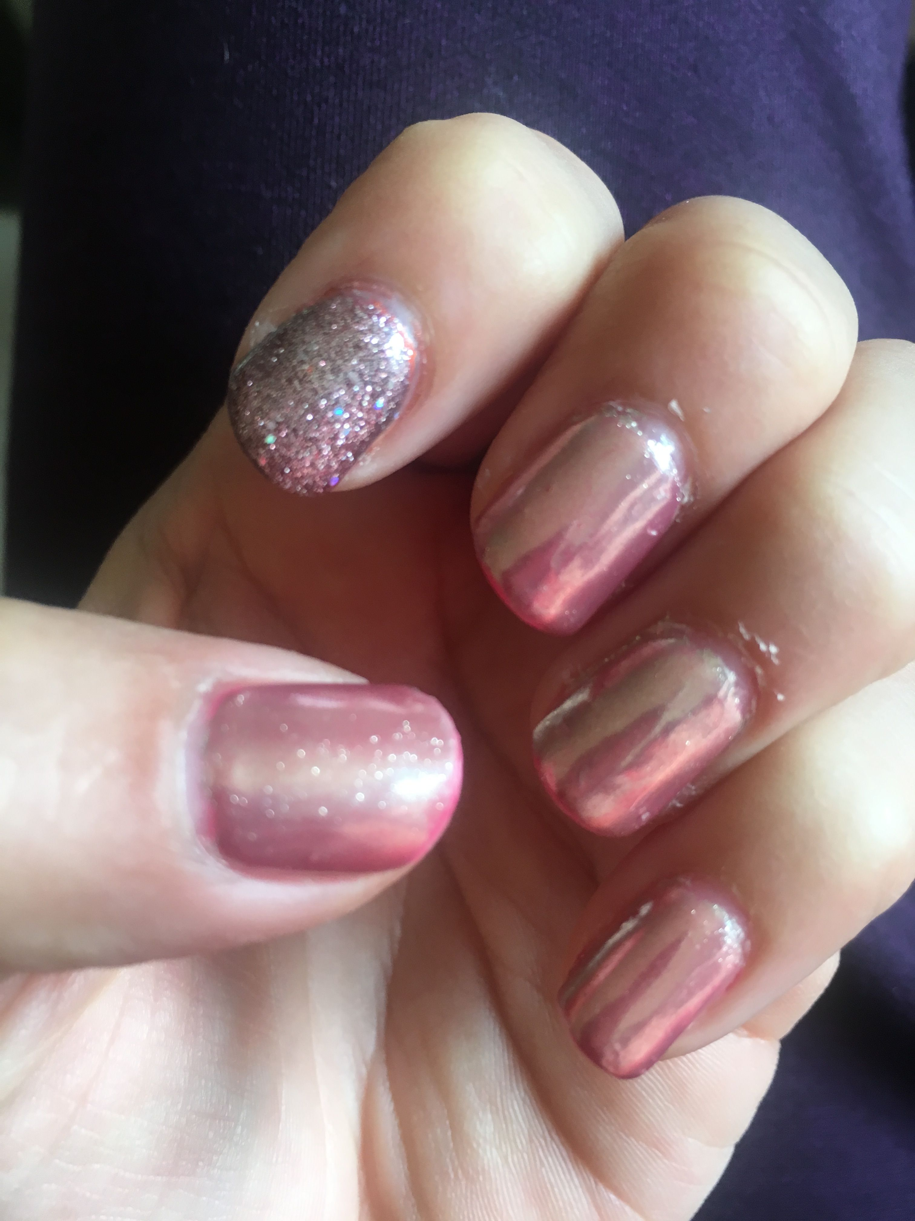 Rose gold mirror. Gelish combine with Born Pretty mirror powder. So ...