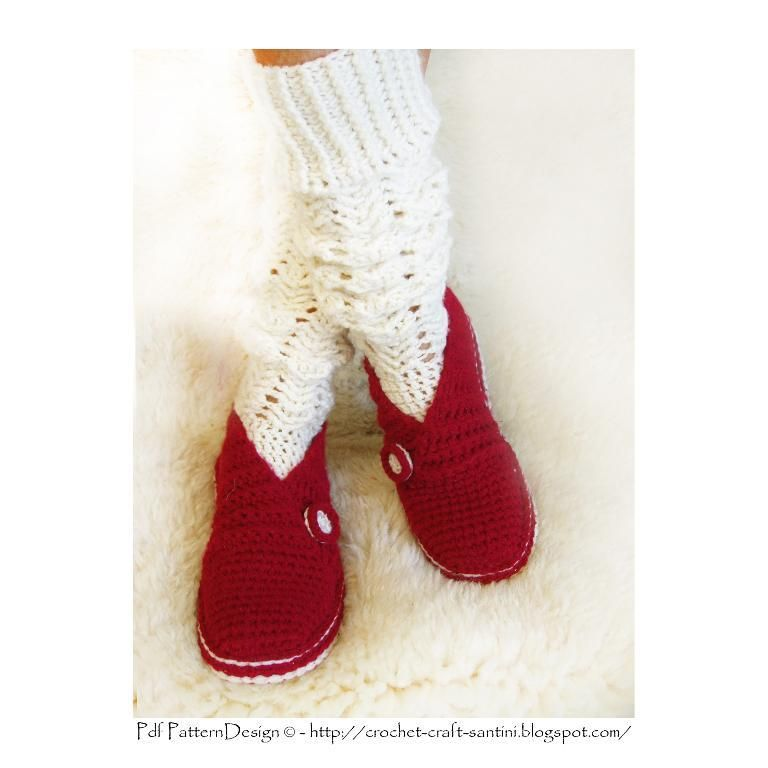 Red Rib Wrap-Slippers