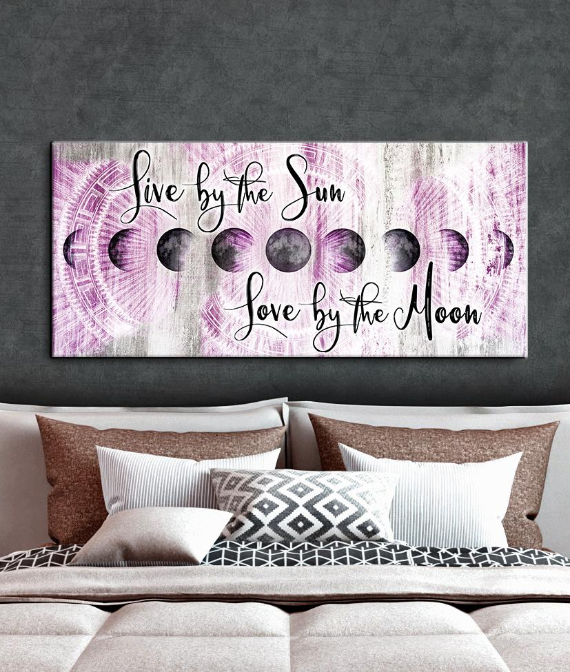 Bedroom wall art live by the sun love by the moon v2