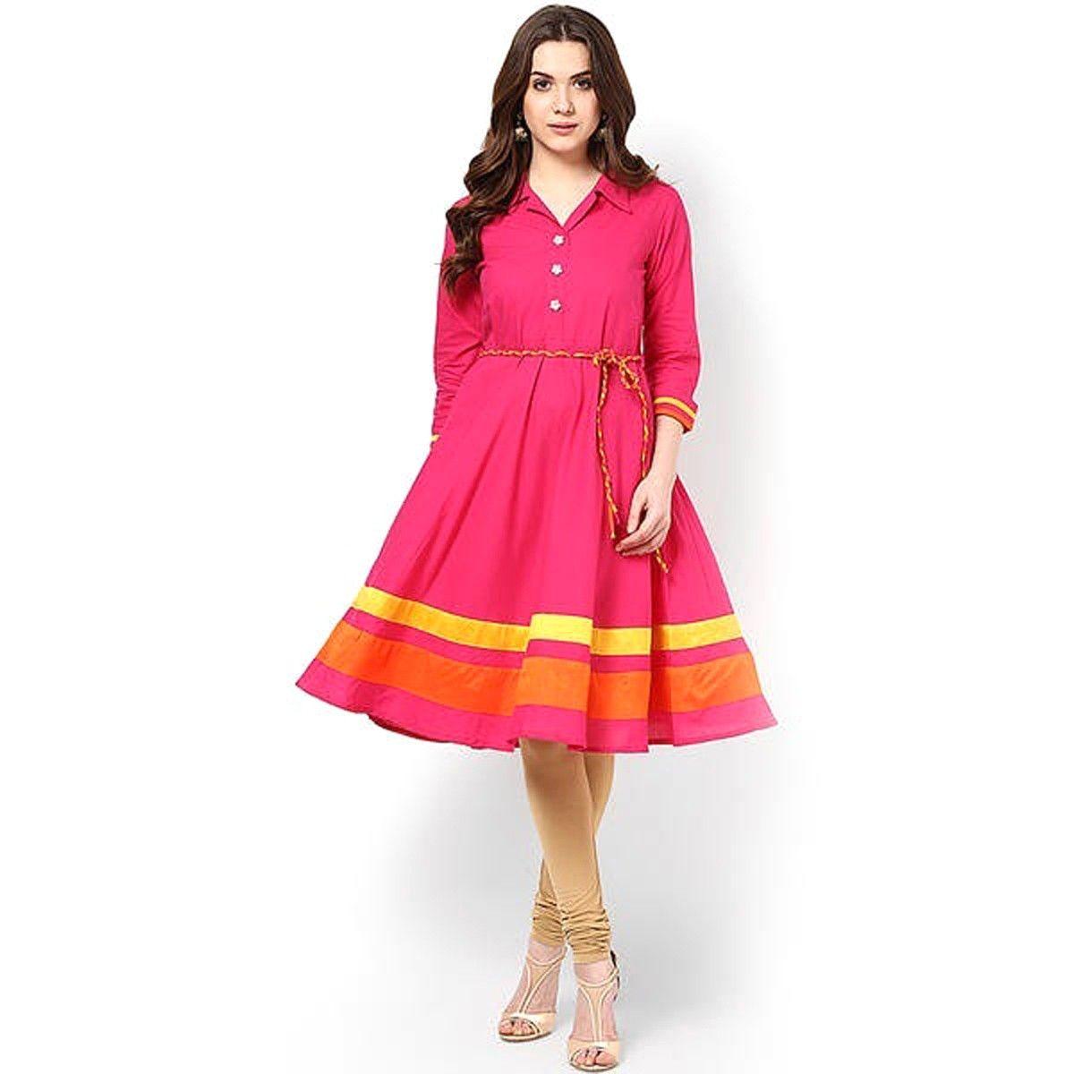 Shirt design kurti - Cotton Lace Work Pink Plain Stitched Frock Style Kurti 198